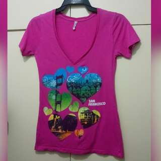 WA704 San Francisco Pink Low V Neck T Shirt (see pics for Measurements)