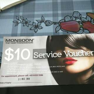Save 50% Off - $10 MONSOON Hair Service Voucher (Novena Square Branch only)