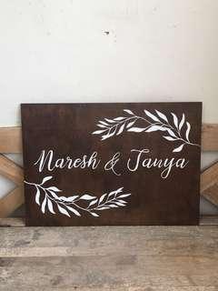 Customised wooden wedding signage