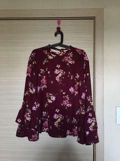 BERSHKA Floral Bell Sleeves Top