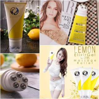 Lemon elixir gel with massage roller /penghancur lemak dan selulit