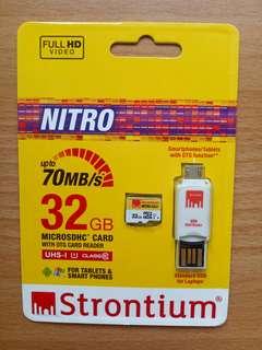 STRONTIUM SRN32GTFU1T 32GB MICRO SD NITRO 466X USH-1 OTG