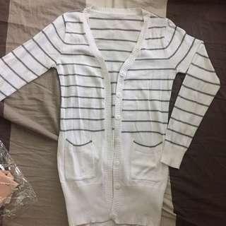 Striped Long Cardigan