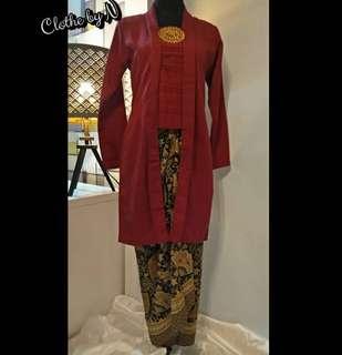 Maroon Baju Kebaya Batik Wrap Set