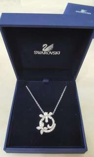 Swarovski 鍍白金色青蜒蝴蝶頸鏈