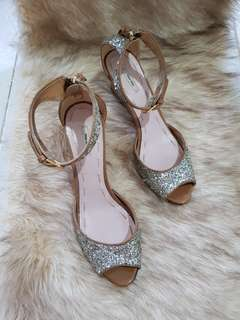 Authentic Miu Miu Glittery Silver/Nude Brown Patent Leather Wedge Strappy Sandals Size 37