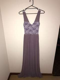 Lilac and lace evening/ ball dress