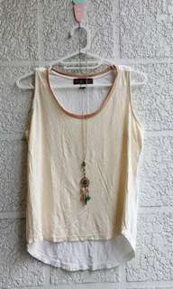 Branded PLAINS AND PRINTS sleeveless top with glittery neckline