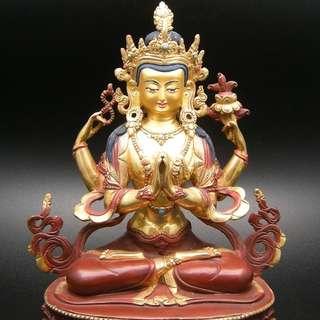 尼泊爾鎏金佛像 手工完美