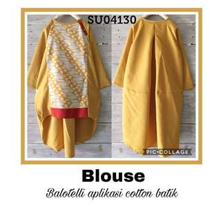 Blouse cotton balotelly aplikasi cotton batik