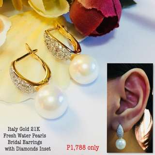 Italy Gold 21k Fresh Water Pearl Bridal Earrings With Diamond Inset