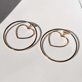 Love Heart Hoop Earrings Gold Plated Fashion Accessory