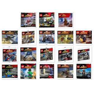 🚚 LEGO Marvel Super Heroes Polybag (Bulk lot 18 pcs) - 5000022 / 5002125 / 5002145 / 5002943 / 5002946 / 5003084 / 5005244 / 30162 / 30163 / 30165 / 30167 / 30168 / 30302 / 30304 / 30305 / 30447 / 30448 / 30610 (NEW & FACTORY SEALED CONDITION)