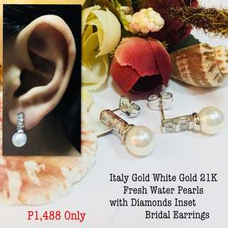 Italy White Gold 21k Fresh Water Pearl with Diamonds Inset Bridal Earrings