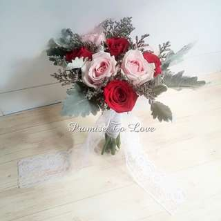 Rustic Fresh Roses with mixed flowers hand bouquet (Wedding / ROM/ Bridesmaid / Proposal/ Anniversary/Birthday)