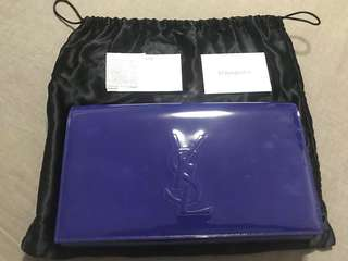 Yves Saint Laurent YSL Belle de Jour Blue Patent Leather Clutch