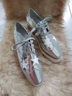 Authentic Stella McCartney Silver/White Platform Derby Wedge Shoes Size 37