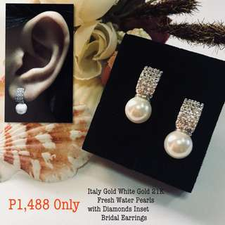 Italy Gold White Gold 21k Fresh Water Pearls With Diamond Inset Bridal Earrings