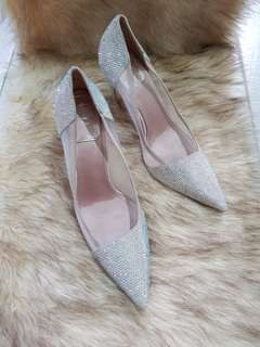 Authentic Christian Dior Pink Satin And Mesh Pumps with Rhinestones  Size 37