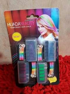 HUDA Temporary Hair Chalk ( pewarna rambut praktis ) isi 4