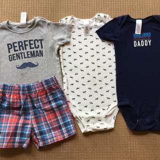 (24 mos) Carter's 4 piece set with 2 onesies, 1 shirt & shorts