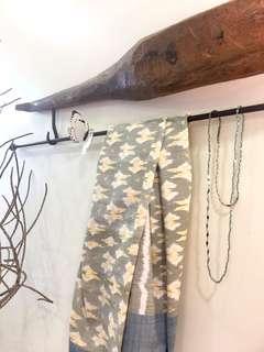Beautiful Vintage Wooden & Steel Rod Wall Piece