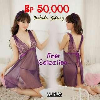 Lingerie seksi dress ungu (VLIN130) BY AMORCOLLECTION