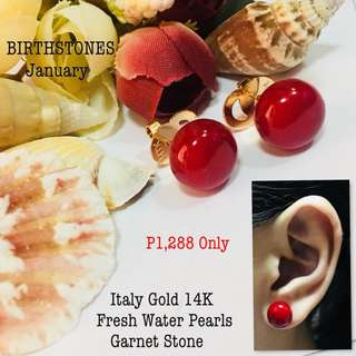 Italy Gold 14k Fresh Water Pearls Garnet Stone