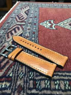 Rubber + Leather watch strap 24mm