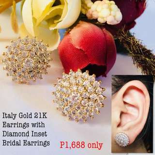 Italy Gold 21k Earrings With Diamond Inset Bridal Earrings