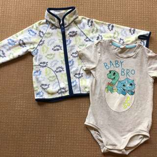 (1-2 yrs old) H&M light fleece jacket + onesie with dinosaur designs