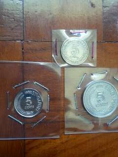 1948 King George VI, Malaya 5c copper nickel, obsoleted coin 1pc. 1971 first and only circulating commemorative aluminum 5c coin 1pc. 1982 first marine series 5c copper nickel coin 1pc.