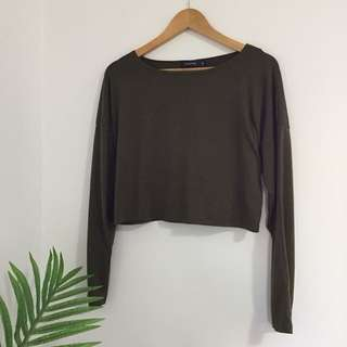 Khaki Green Long Sleeve Crop