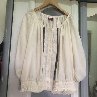 日 日系 Lowry's farm 圖騰 森林系 波西米亞風 飛鼠袖 寬袖 上衣 縮腰 彈性