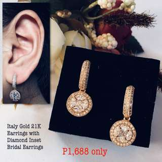 Italy Gold 21k Earrings With Diamonds Inset Bridal Earrings