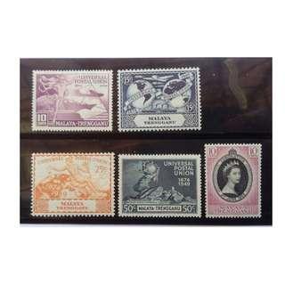 MALAYA Terengganu 1949 UPU  & 1953 QEII CORONATION MLH BL637