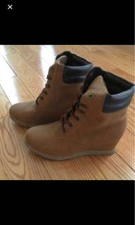 Faux Timberlands - Wedge, Beige, Size 6