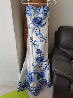 Super sale! Long gown with blue floral and adjustable back