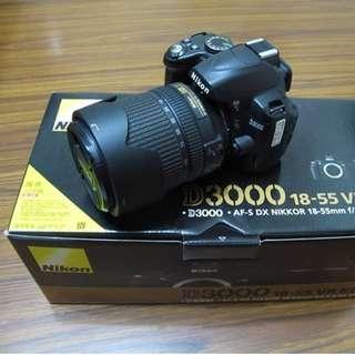 【出售】Nikon D3000 數位單眼相機 (快門數只有6千)