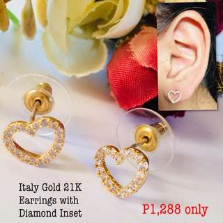 Italy Gold 21k Earrings With Diamonds Inset