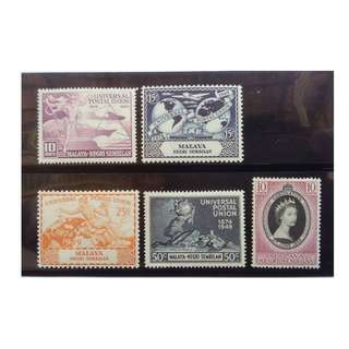 MALAYA N Sembilan 1949 UPU  & 1953 QEII CORONATION MLH BL638