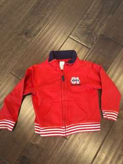Carters red zip up sweater / jacket, size 24 months