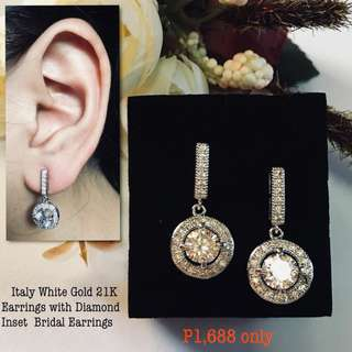 Italy White Gold 21k Earrings With Diamonds Inset Bridal Earrings