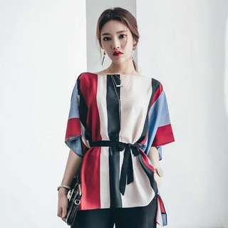 color stripe batwing sleeve belted blouse