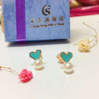 🚚 香港正生純銀飾-蒂芬妮綠❤️珍珠耳環