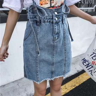 🚚 [新品]單寧清新牛仔高腰細吊帶裙