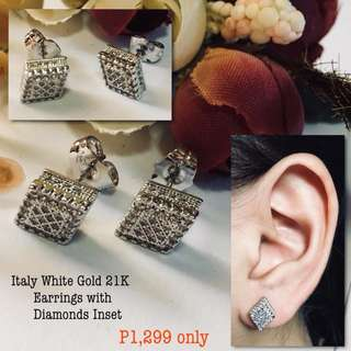 Italy White Gold 21k Earrings With Diamonds Inset