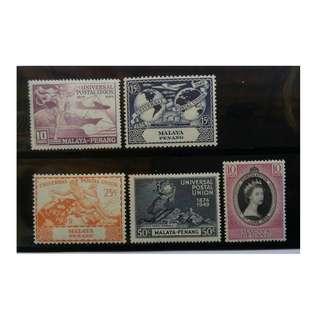 MALAYA Penang 1949 UPU  & 1953 QEII CORONATION MLH BL639