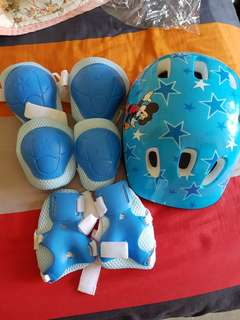 Helmets. Knee, elbow and hand guard for children