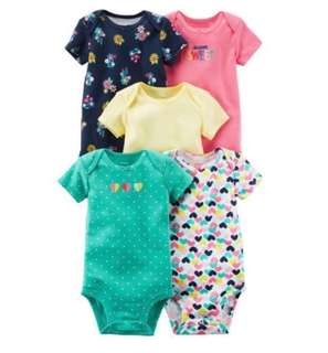 *9M* Brand New Carter's 5-Pack Short Sleeve Bodysuits For Baby Girl